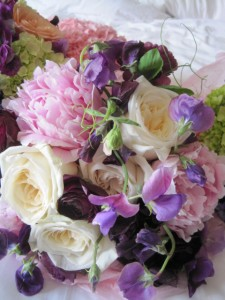 peonies, hydragena, sweet pea, garden rose and ranunculus centerpiece.